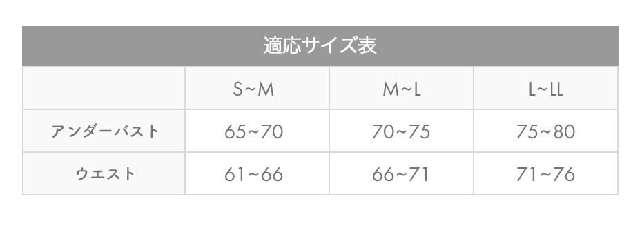 姿勢コンシャスのサイズ表