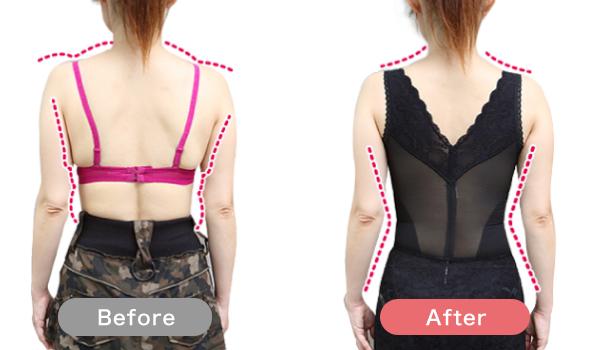 後ろ姿の着用前と着用後の比較写真